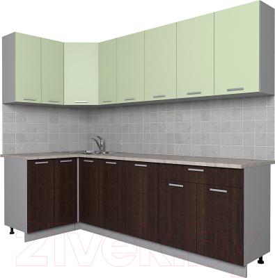 Готовая кухня Интерлиния Мила Лайт 1.2x2.5 (салатовый/дуб венге)