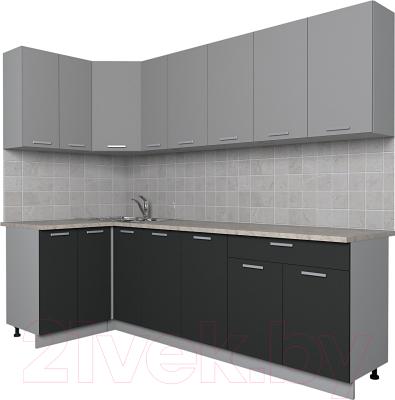 Готовая кухня Интерлиния Мила Лайт 1.2x2.5 (серебро/антрацит)