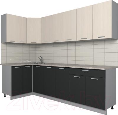 Готовая кухня Интерлиния Мила Лайт 1.2x2.6 (вудлайн кремовый/антрацит)