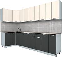Готовая кухня Интерлиния Мила Лайт 1.2x3.0 (вудлайн кремовый/антрацит) -