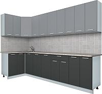 Готовая кухня Интерлиния Мила Лайт 1.2x3.0 (серебро/антрацит) -