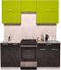 Готовая кухня Интерлиния Мила Gloss 50-18 (яблоко/черный глянец) -