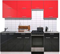 Готовая кухня Интерлиния Мила Gloss 50-23 (красный/черный глянец) -