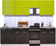 Готовая кухня Интерлиния Мила Gloss 50-25 (яблоко/черный глянец) -