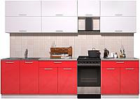 Готовая кухня Интерлиния Мила Gloss 50-29 (белый/красный глянец) -