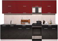 Готовая кухня Интерлиния Мила Gloss 50-29 (бордовый/черный глянец) -