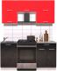 Готовая кухня Интерлиния Мила Gloss 60-17 (красный/черный глянец) -