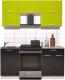Готовая кухня Интерлиния Мила Gloss 60-17 (яблоко/черный глянец) -