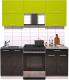 Готовая кухня Интерлиния Мила Gloss 60-18 (яблоко/черный глянец) -
