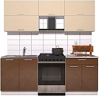 Готовая кухня Интерлиния Мила Gloss 60-21 (ваниль/шоколад глянец) -