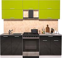 Готовая кухня Интерлиния Мила Gloss 60-22 (яблоко/черный глянец) -