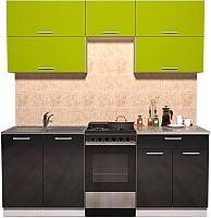 Готовая кухня Интерлиния Мила Gloss 50-20 (яблоко/черный глянец) -