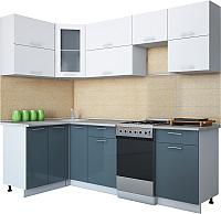 Готовая кухня Интерлиния Мила Gloss 50-12x24 (белый/асфальт глянец) -