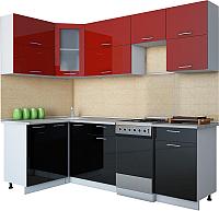 Готовая кухня Интерлиния Мила Gloss 50-12x24 (бордовый/черный глянец) -