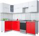 Готовая кухня Интерлиния Gloss 50-12x25 (белый/красный глянец) -