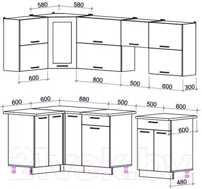 Готовая кухня Интерлиния Мила Gloss 50-12x25 (белый/асфальт глянец)