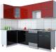 Готовая кухня Интерлиния Gloss 50-12x25 (бордовый/черный глянец) -