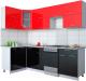 Готовая кухня Интерлиния Мила Gloss 50-12x25 (красный/черный глянец) -
