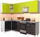 Готовая кухня Интерлиния Мила Gloss 50-12x25 (яблоко/черный глянец) -
