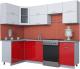 Готовая кухня Интерлиния Мила Gloss 60-12x25 (белый/красный глянец) -