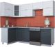 Готовая кухня Интерлиния Мила Gloss 60-12x25 (белый/асфальт глянец) -