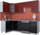 Готовая кухня Интерлиния Мила Gloss 60-12x25 (бордовый/черный глянец) -