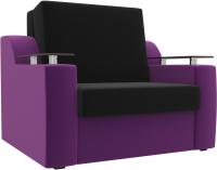 Кресло-кровать Mebelico Сенатор / 100696 (80, микровельвет черный/фиолетовый) -