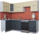 Готовая кухня Интерлиния Мила Gloss 60-12x25 (ваниль/асфальт глянец) -