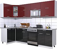 Готовая кухня Интерлиния Мила Gloss 60-12x27 (бордовый/черный глянец) -