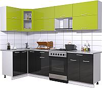 Готовая кухня Интерлиния Мила Gloss 60-12x27 (яблоко/черный глянец) -
