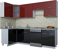 Готовая кухня Интерлиния Мила Gloss 60-12x26 (бордовый/черный глянец) -