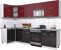Готовая кухня Интерлиния Мила Gloss 60-12x29 (бордовый/черный глянец) -