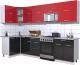 Готовая кухня Интерлиния Мила Gloss 60-12x29 (красный/черный глянец) -
