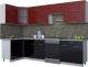 Готовая кухня Интерлиния Мила Gloss 60-12x30 (бордовый/черный глянец) -