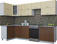 Готовая кухня Интерлиния Мила Gloss 60-12x30 (ваниль/шоколад глянец) -