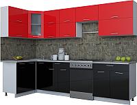 Готовая кухня Интерлиния Мила Gloss 60-12x30 (красный/черный глянец) -
