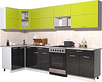 Готовая кухня Интерлиния Мила Gloss 60-12x30 (яблоко/черный глянец) -