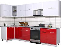 Готовая кухня Интерлиния Мила Gloss 60-12x31 (белый/красный глянец) -
