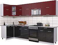 Готовая кухня Интерлиния Мила Gloss 60-12x31 (бордовый/черный глянец) -