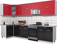 Готовая кухня Интерлиния Мила Gloss 60-12x31 (красный/черный глянец) -