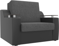 Кресло-кровать Mebelico Сенатор / 100703 (60, рогожка серый/экокожа черный) -