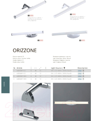 Подсветка для картин и зеркал Arte Lamp Orizzone A2835AP-1CC