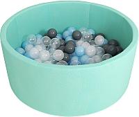 Игровой сухой бассейн Romana Airpool ДМФ-МК-02.53.01 (бирюзовый, 150 шариков ассорти с серым) -