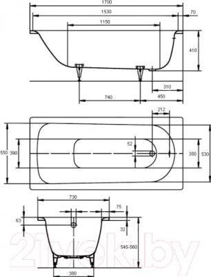 Ванна стальная Kaldewei Saniform Plus 371-1 170x73 (easy-clean)