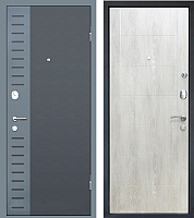 Входная дверь МеталЮр М28 Черный бархат/серый металик/дуб шале снежный (86х205, правая) -