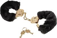 Наручники Pipedream Gold Deluxe Furry Cuffs / 27022 (с черным мехом) -