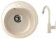 Мойка кухонная Berge BR-5200 + смеситель GR-3505 (бежевый/пирит) -