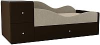 Кровать-тахта Mebelico Дельта правый / 101722 (микровельвет, бежевый/коричневый) -
