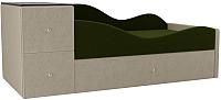 Кровать-тахта Mebelico Дельта правый / 101723 (микровельвет, зеленый/бежевый) -