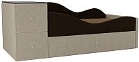 Кровать-тахта Mebelico Дельта правый / 101724 (микровельвет, коричневый/бежевый) -